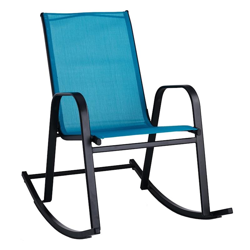 Turquoise Outdoor Steel Sling Rocker
