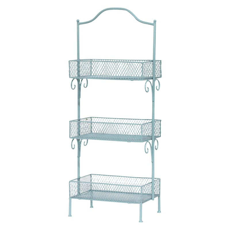Blue 3 Tier Storage Basket, Large