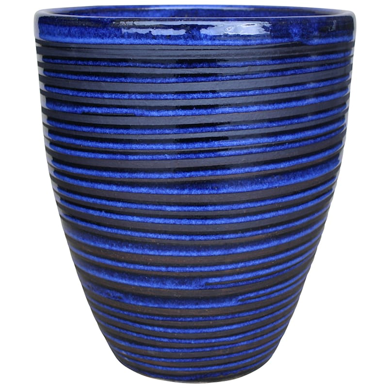 Pinstripe Ceramic Planter 10in. Imperial Blue