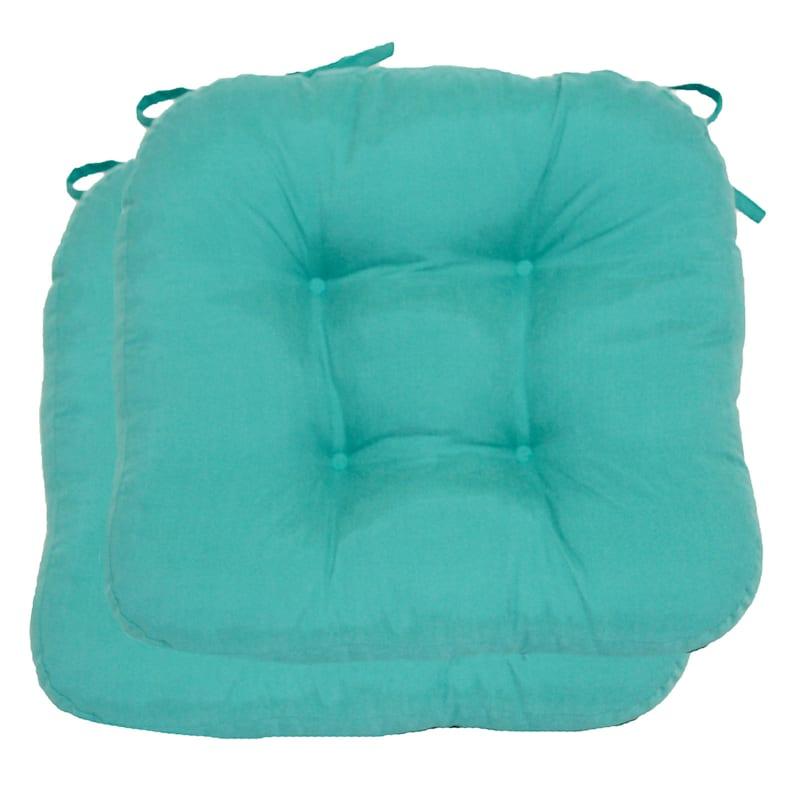 Microsuede 2-Pack Chair Pad/4 Tacks/Ties Turquoise