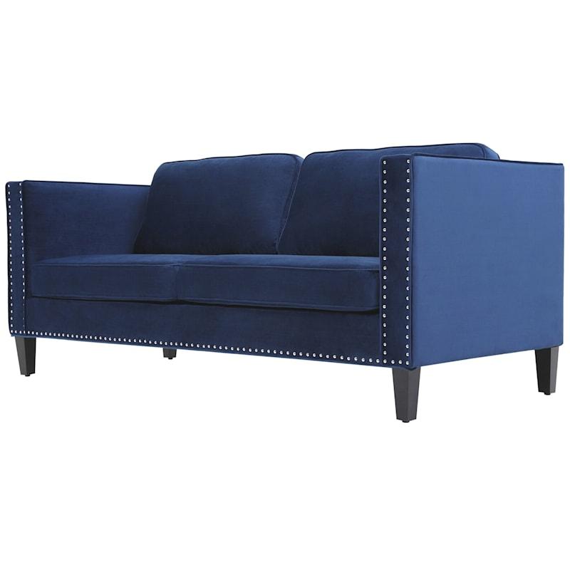 "Farrow Navy Velvet 3 Seater Sofa with Double Silver Nailheads, 77"""