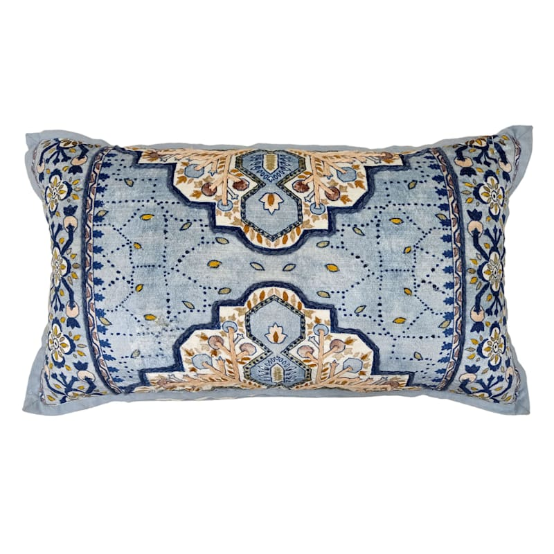 Embroidered Print Throw Pillow, 14x24