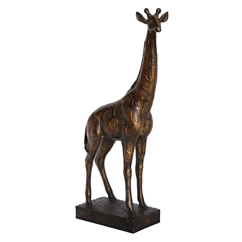 9X18 Gold Resin Giraffe With Stand