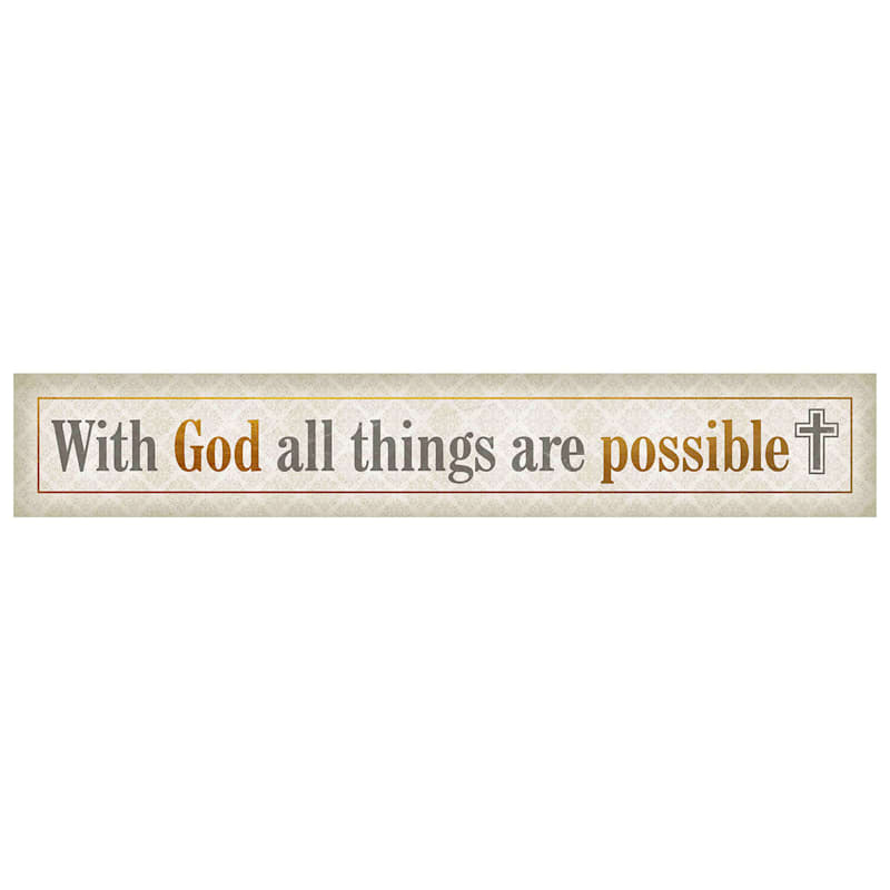 36X6 With God All Things Are Possible Foiled Canvas Art