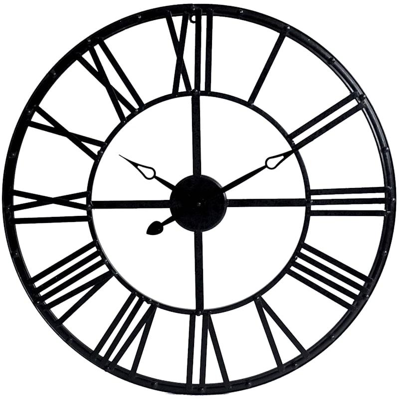 28in. Metal Black Wall Clock