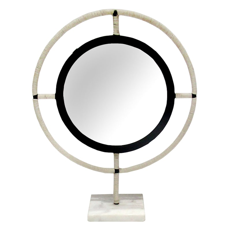14in. Round Woven Mirror Table Decor