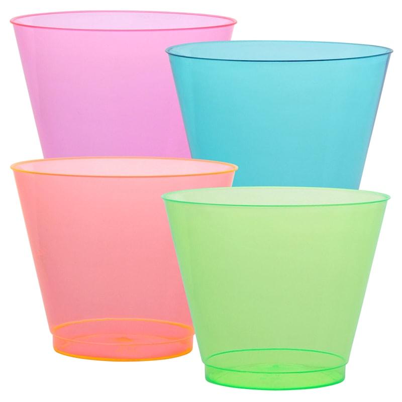 Neon Pink Green Orange Blue 9oz Plastic Tumbler Party Dimensions