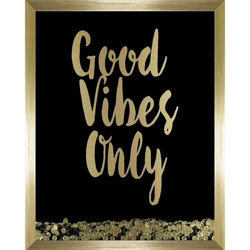 11X14 Good Vibes Only Sequin Shaker Box Under Glass