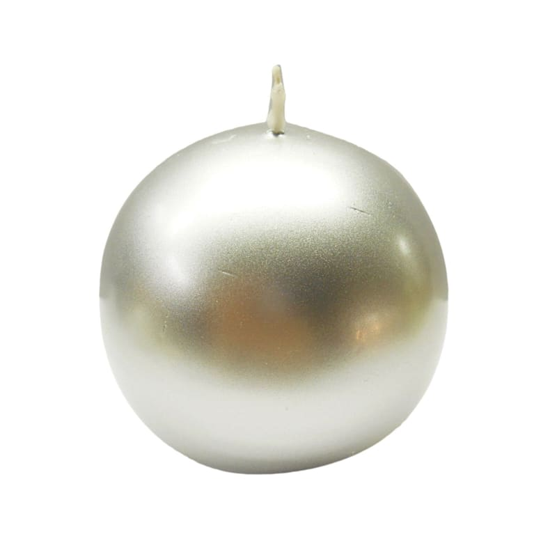 4in. Sphere Candle Metallic Silver