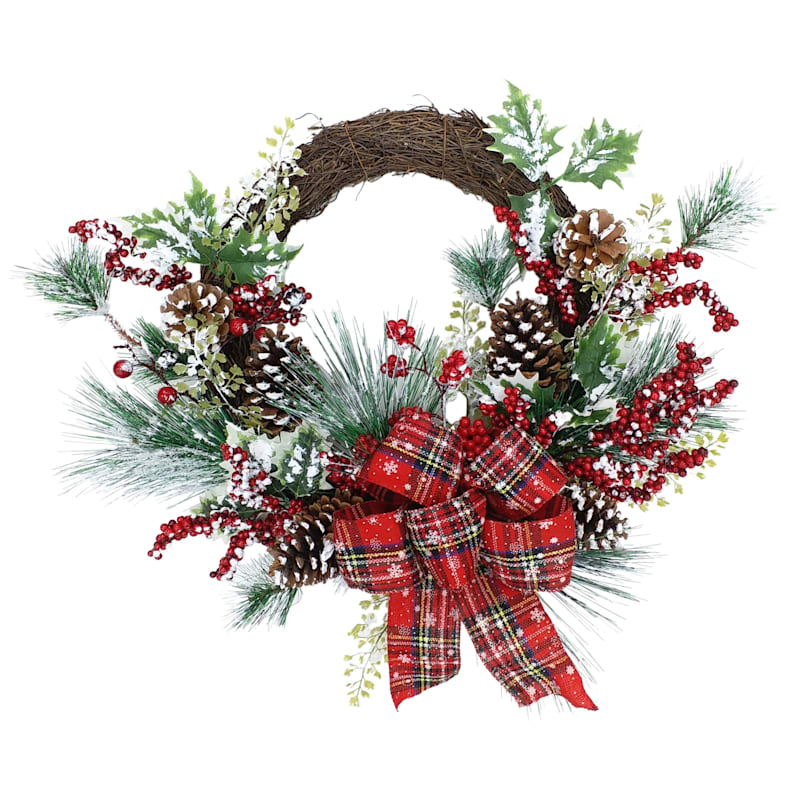"""Flocked Pinecones With Red Plaid Ribbon Wreath, 18"""""""