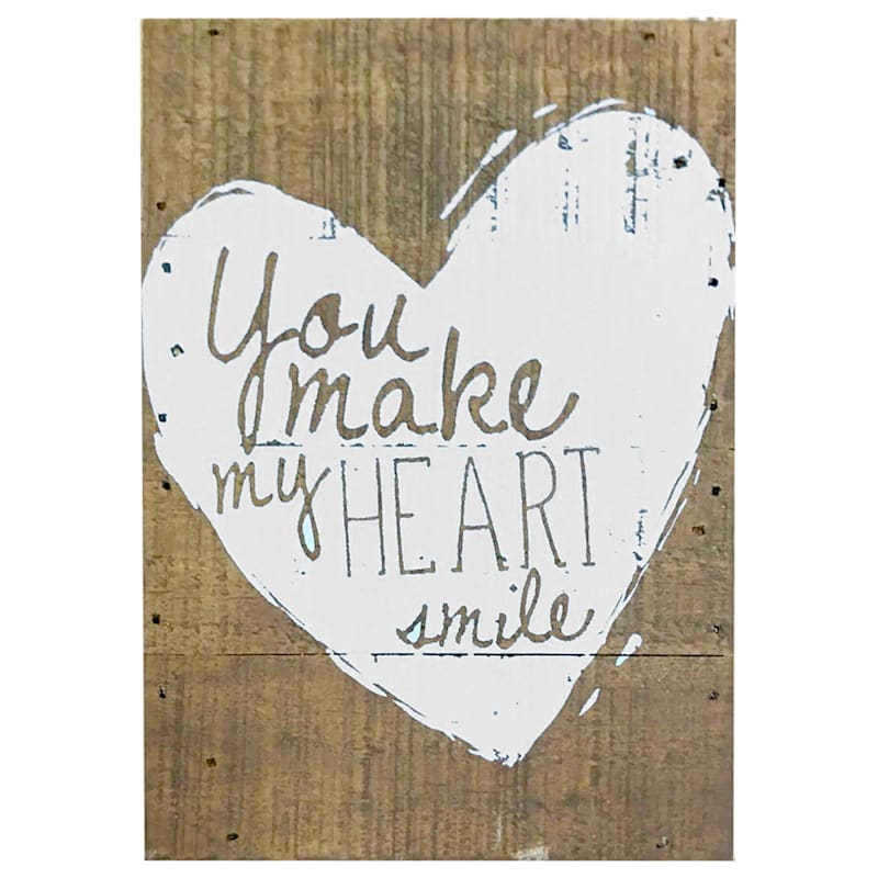 5X7 You Make My Heart Smile Tabletop Wood Block