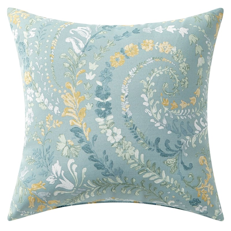 """Floral Paisley Outdoor Square Pillow, 16"""""""