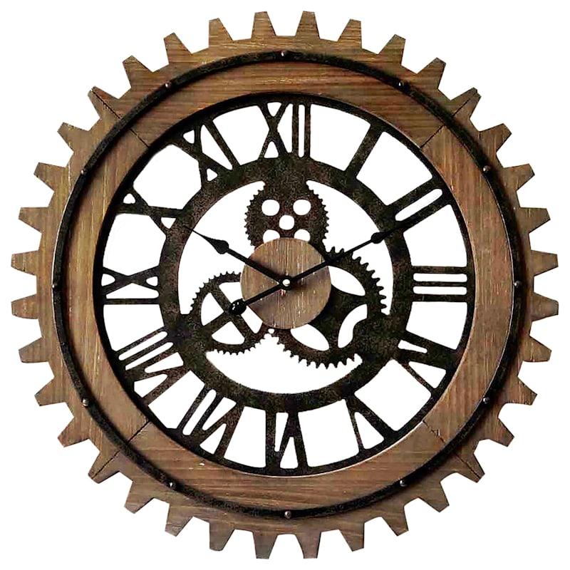 24in. Round Wood Clock