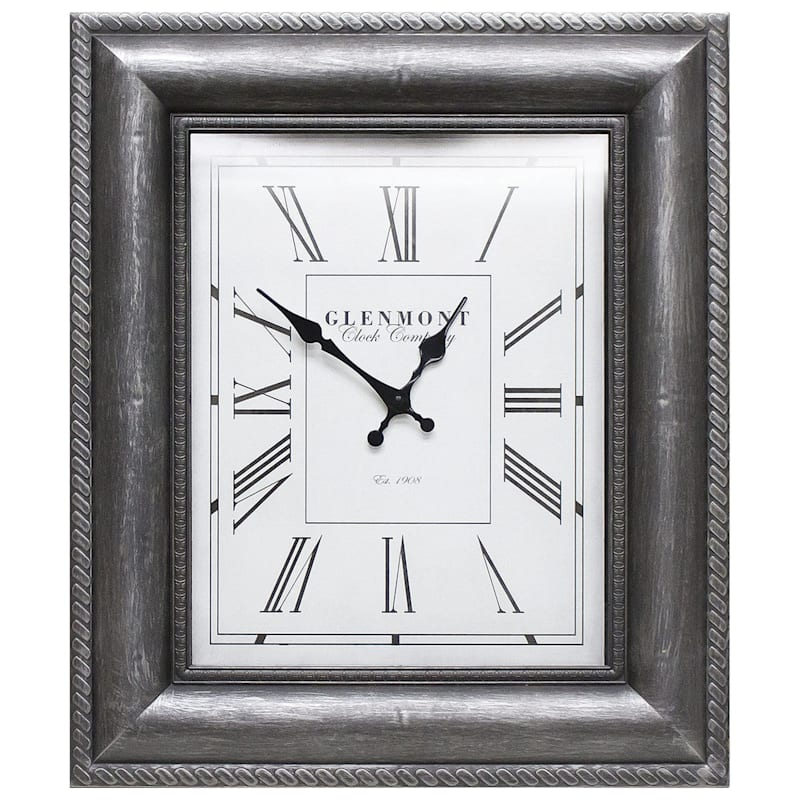 16X20 Pewter Embossed Frame Wall Clock
