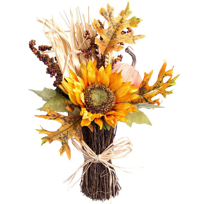 Yellow Sunflower & Ivory Pumpkin Fall Arrangement
