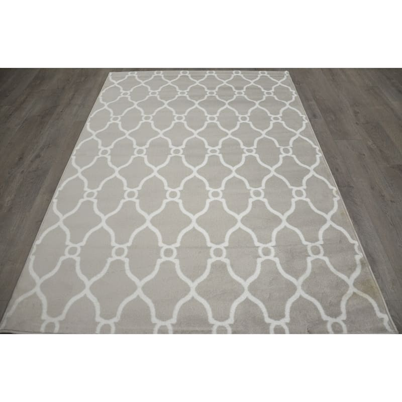(D47) Grey & White Moroccan Style Design Runner, 2x6