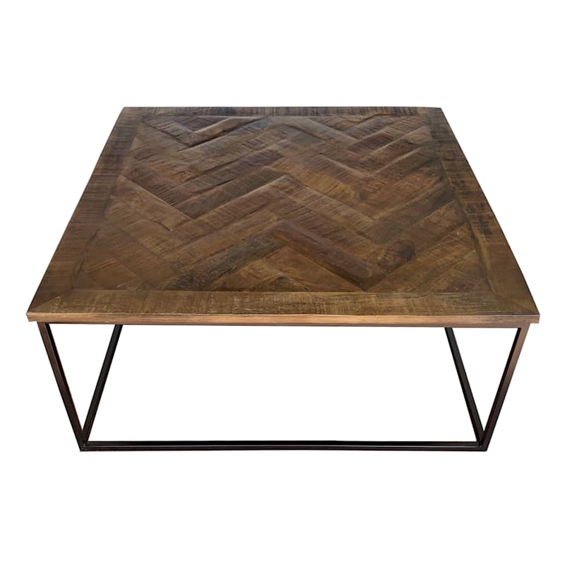 Parquet Wood Top Coffee Table, 34x34