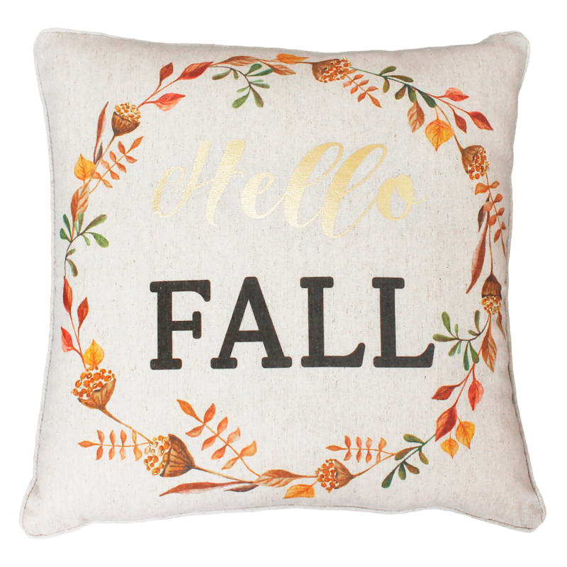 """Hello Fall"" Wreath Throw Pillow, 20"" x 20"""