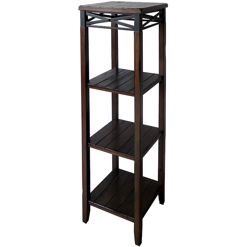 Wood And Metal X Band Plant Stand