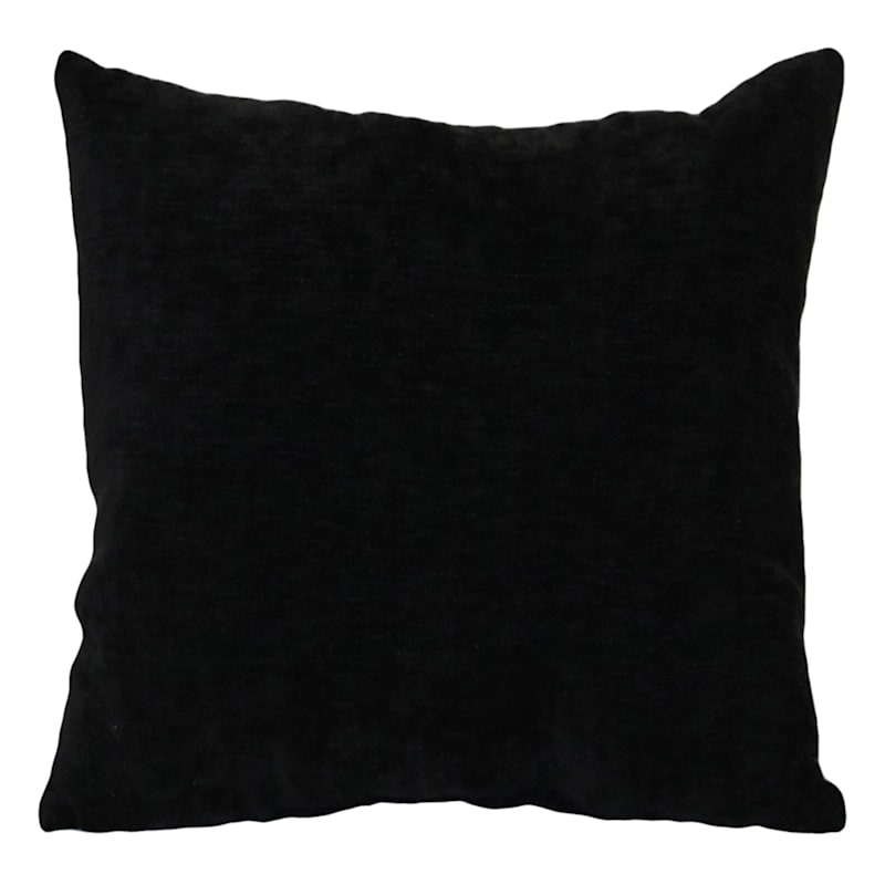 "Reese Black Chenille Throw Pillow, 18"""