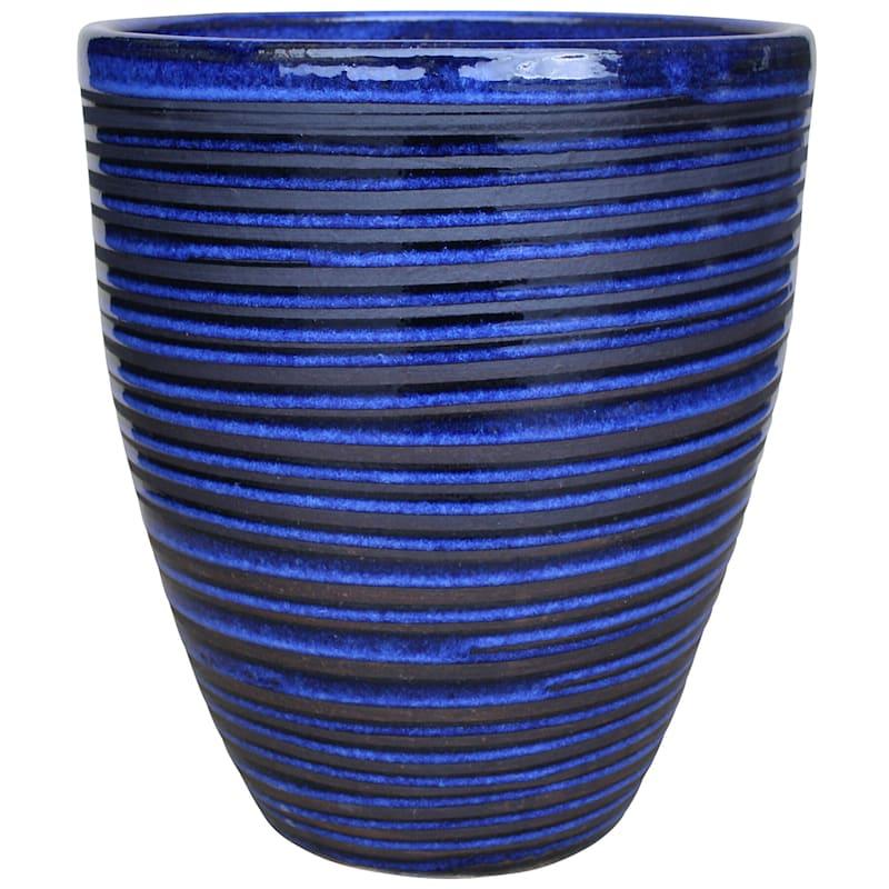 Pinstripe Ceramic Planter 12in. Imperial Blue