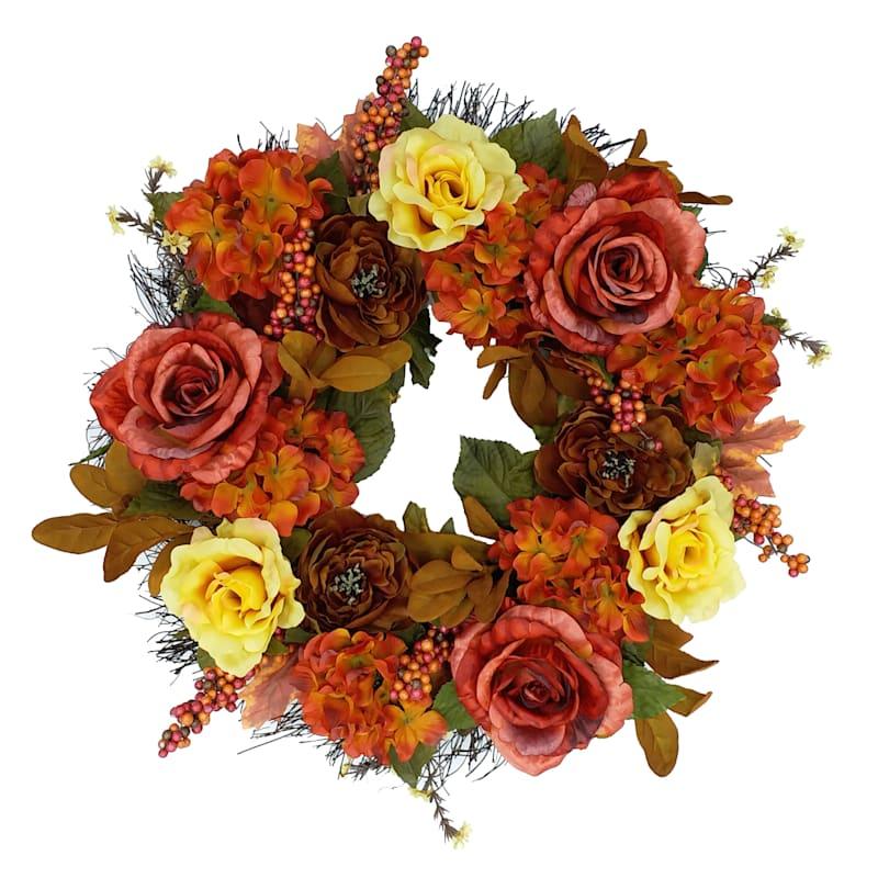 "Rose, Hydrangea & Berry Wreath, 22"""
