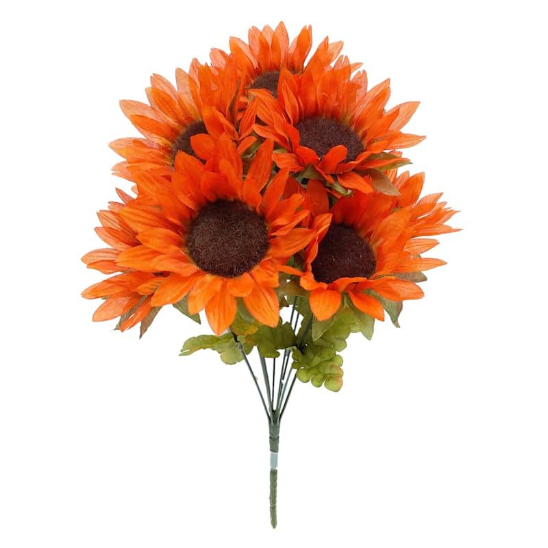 "Orange Sunflower Bush, 18"""