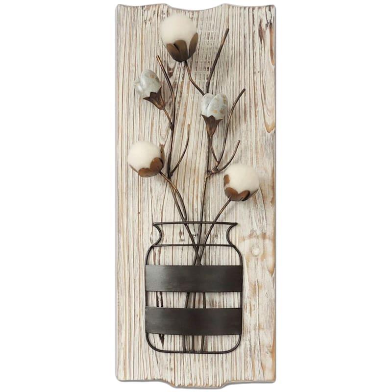 21X9 Wood Panel Cotton Flower Vase Wall Decor