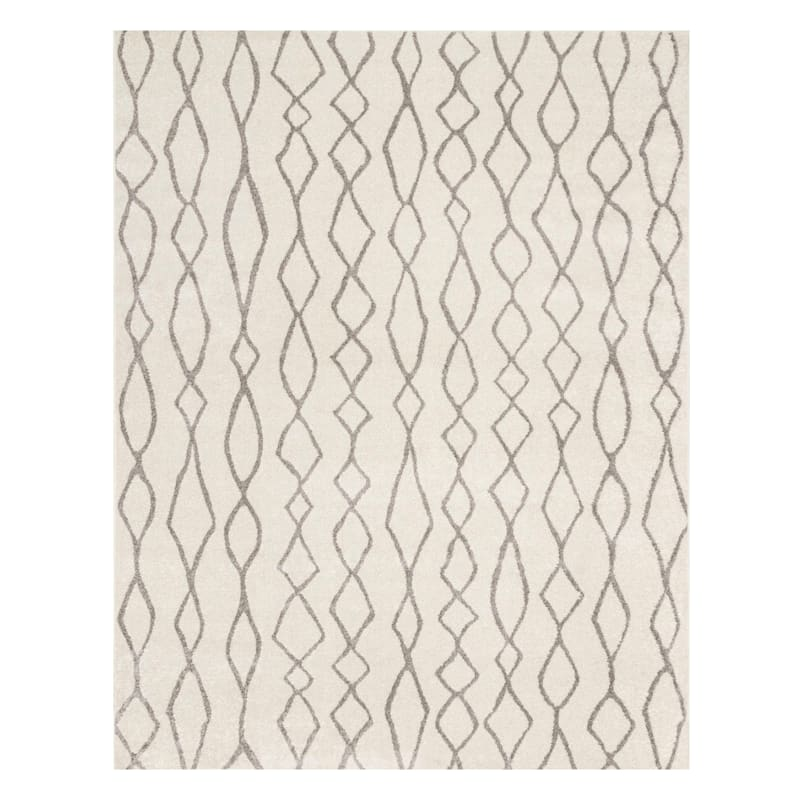 (D376) Lucas Trellis Moroccan Ivory & Beige Area Rug, 8x10