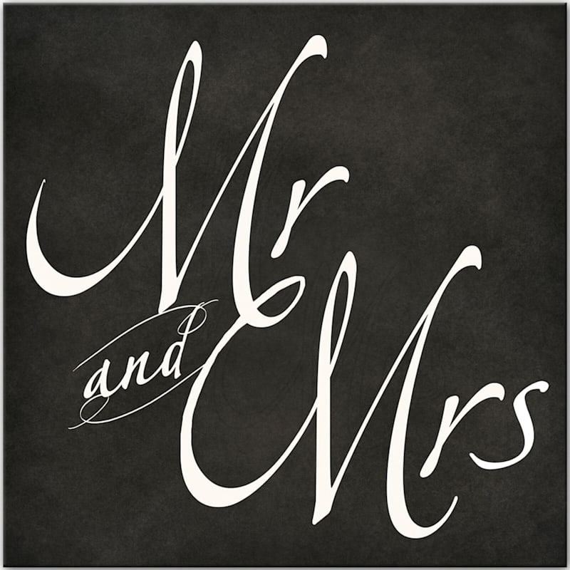 18X18 Black Mr. And Mrs Canvas Wall Art