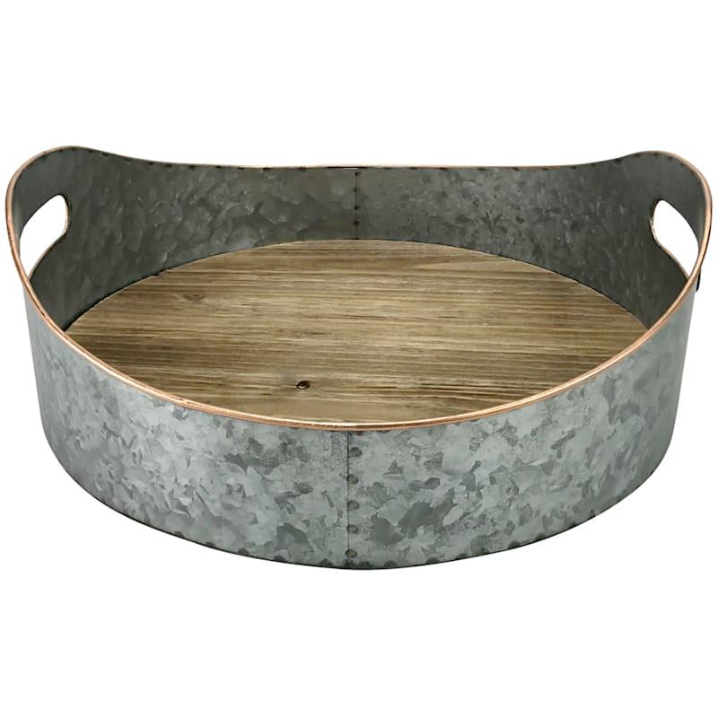 Galvanized Metal /Wood Tray 13.5X13.5X4.25