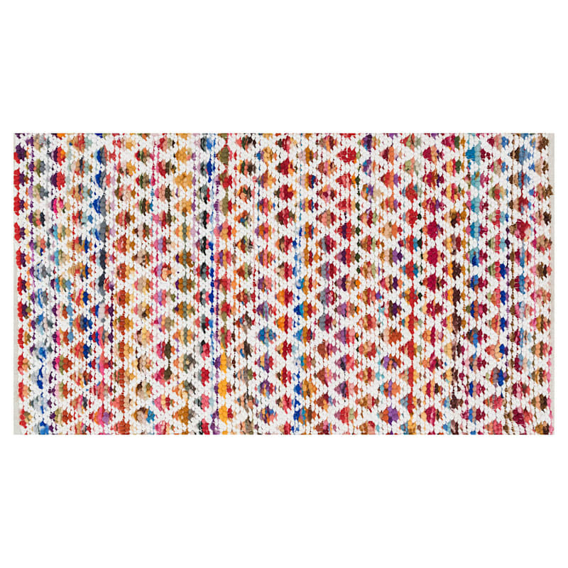 Apollo Multi-Diamond cotton Blend Chindi Accent Rug, 2x4