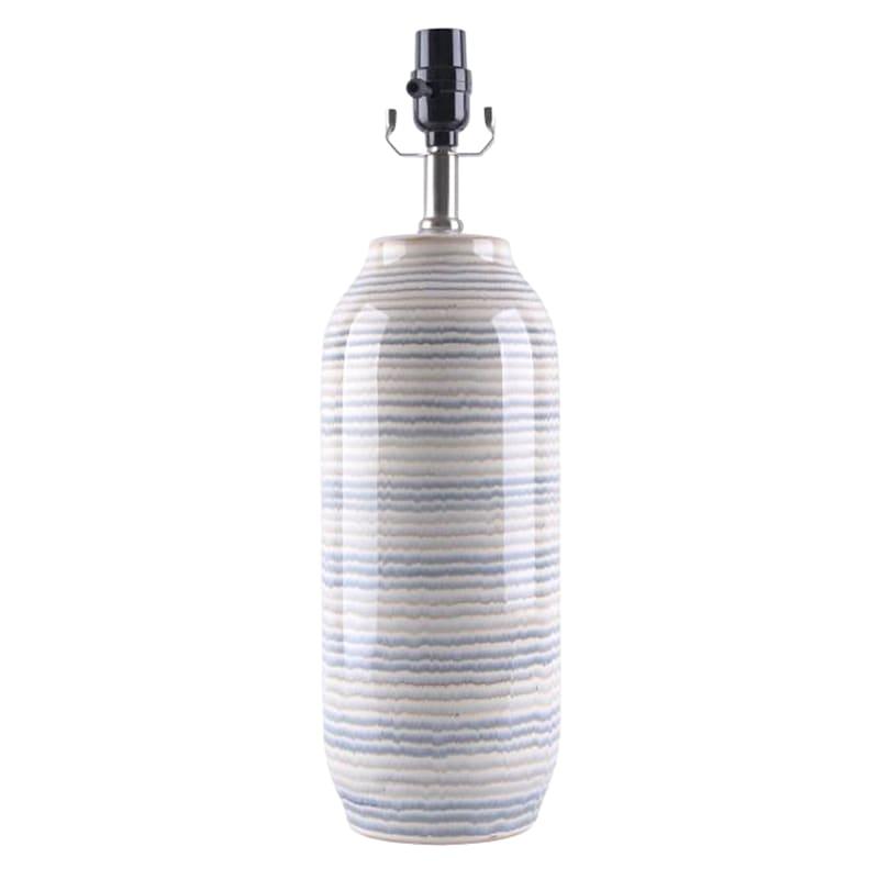 19.5in. Blue/Grey Striped Ceramic Table Lamp