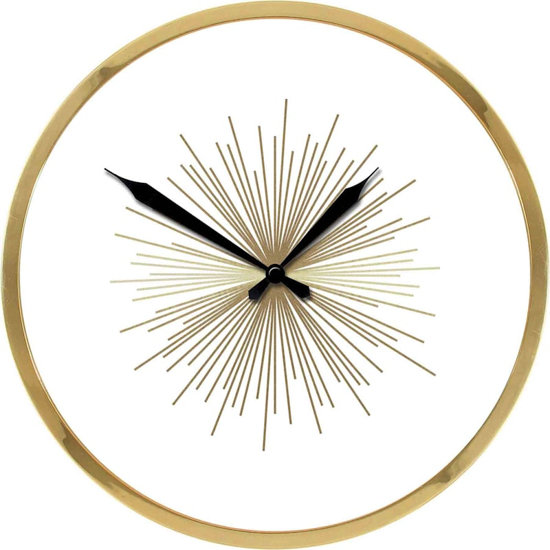 18X18 Golden Burst Clock With Metallic Frame