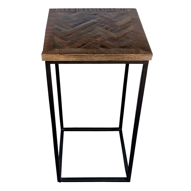 Parquet Wood Top Side Table