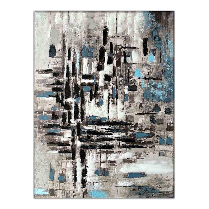 30X40 Grey Squares Enhanced Canvas