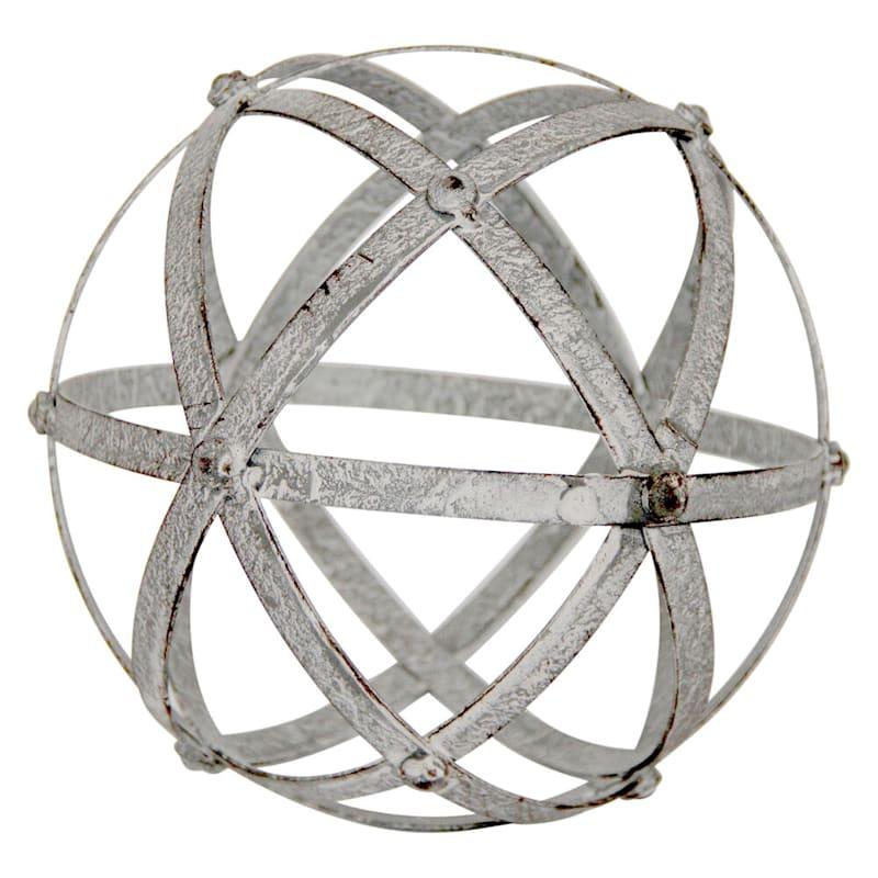 8in. Grey Metal Spiral Sphere