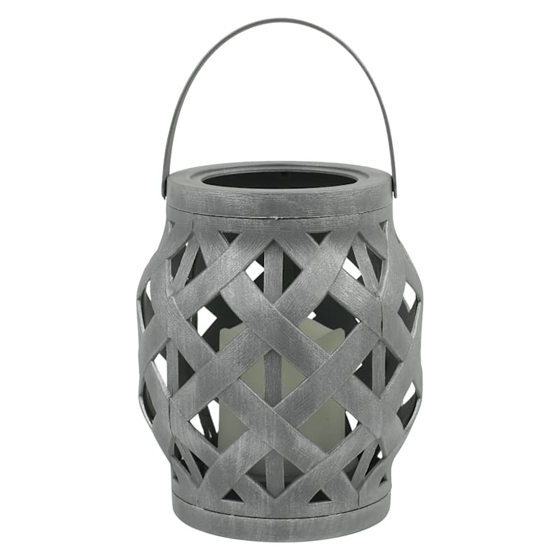 """Grey Rattan Lantern with LED Candle Timer, 6"""""""