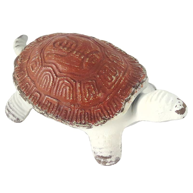 Distressed Metal White Turtle With Red Shell Decor Object Box