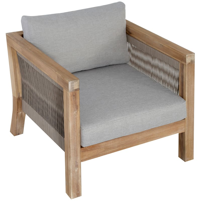 Park City Blonde Acacia Wood & Rope Accent Outdoor Lounge Chair
