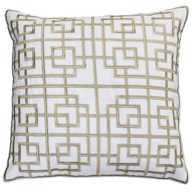 Ellis White/Gold Embroidered Pillow 20in.