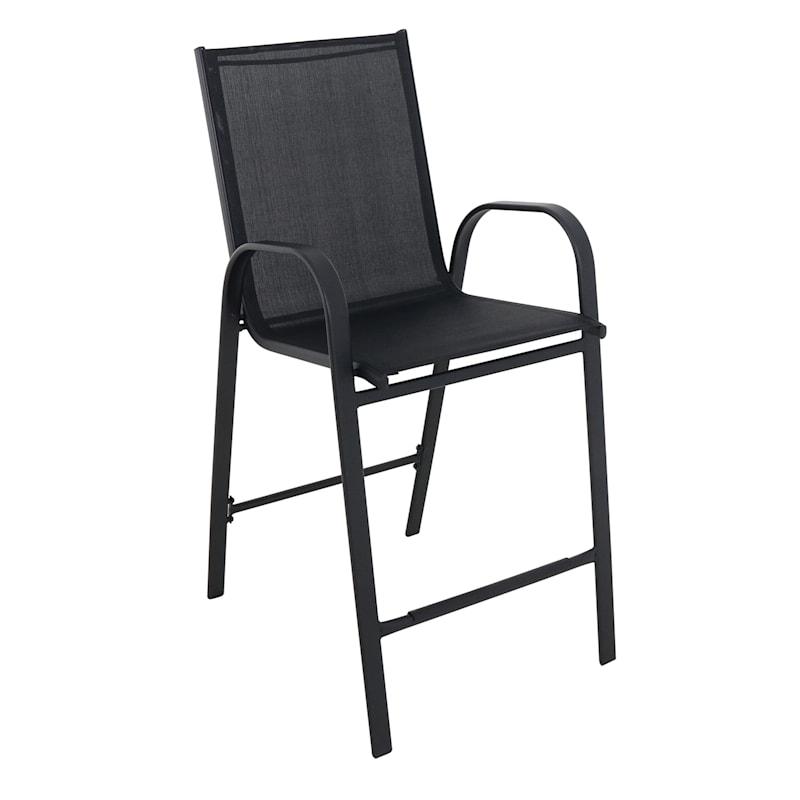 Black Outdoor Steel Sling Barstool