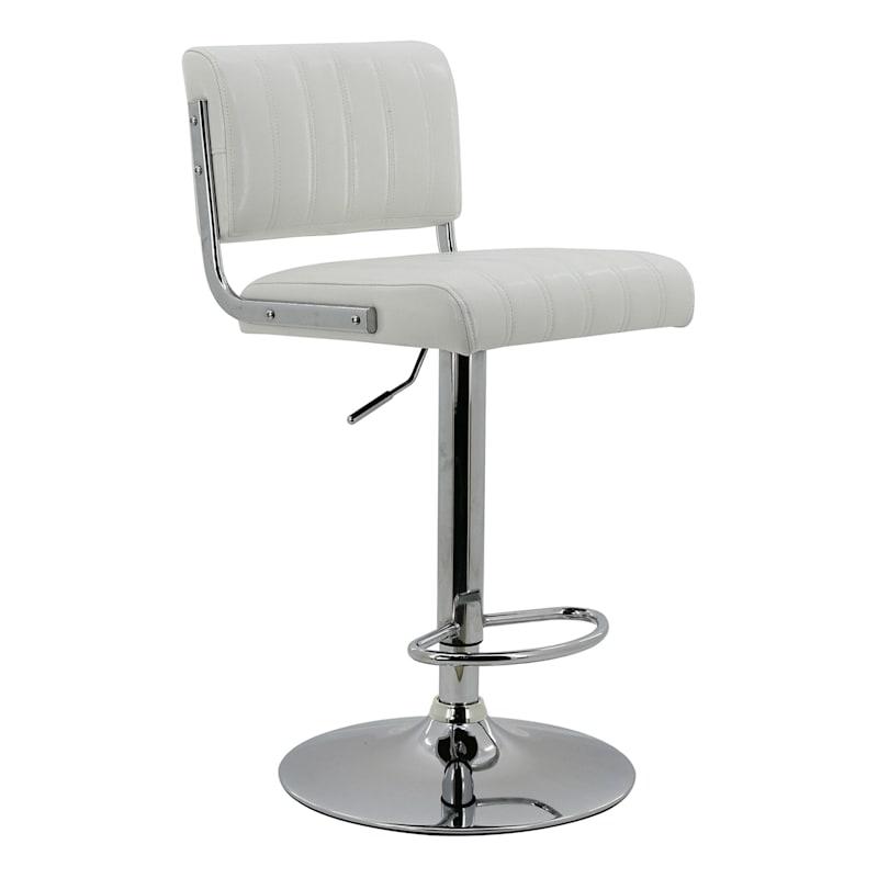 Warren White Faux Leather Adjustable Barstool