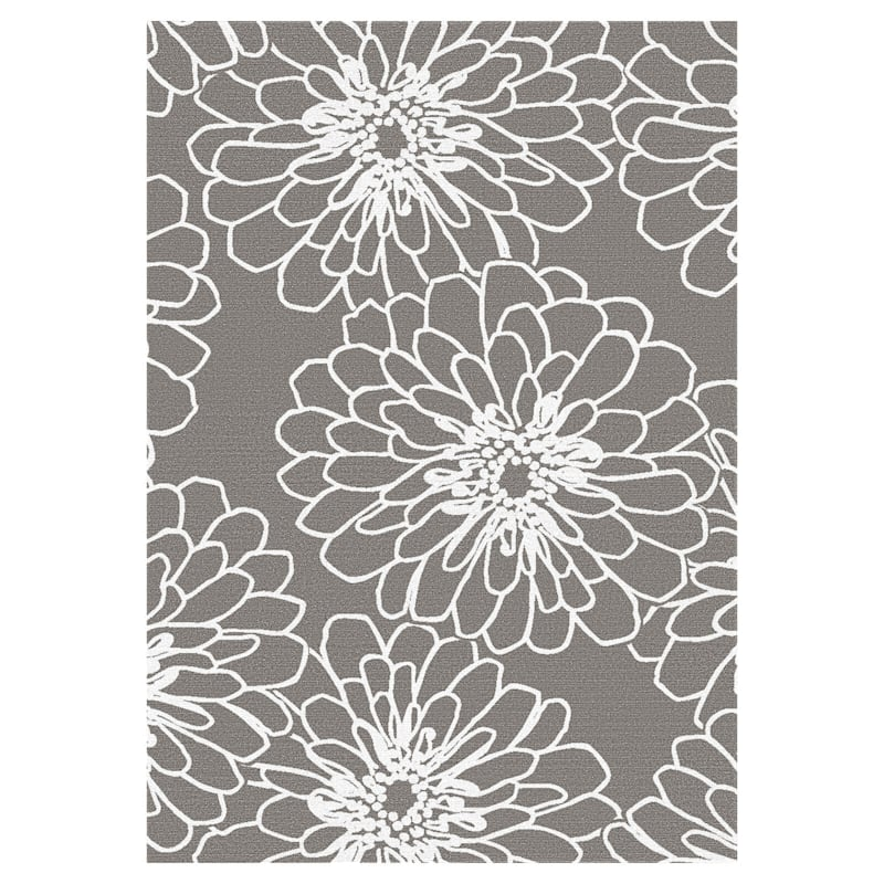 (D161) Gloucester Marigold Grey Printed Area Rug With Non-Slip Back, 7x10