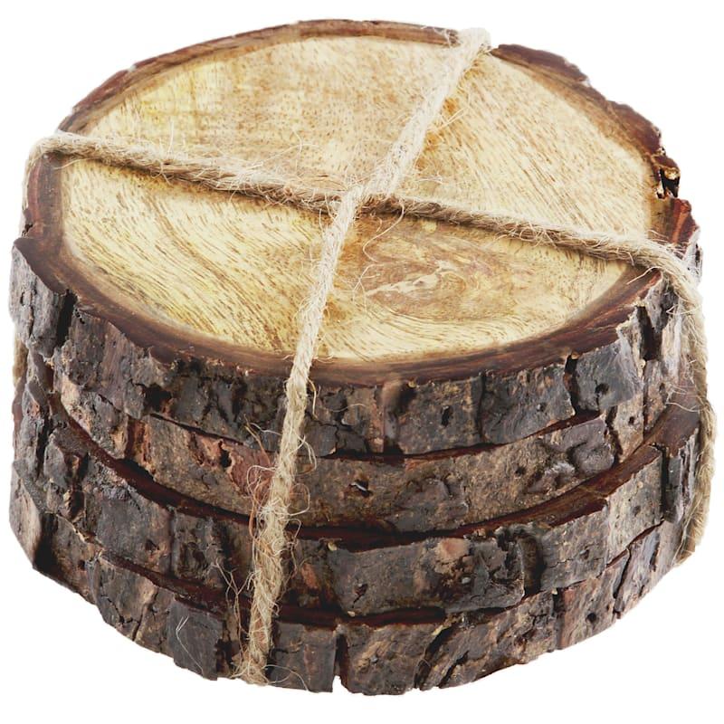 Round Mango Wood/Bark Edge Coasters Set Of 4