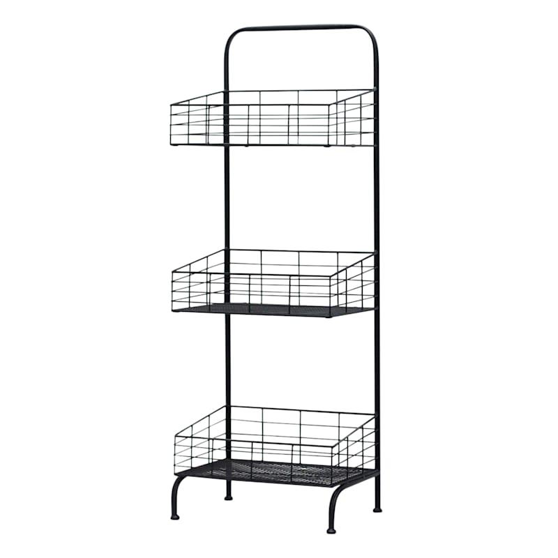 Black 3 Tier Square Storage Basket, Large