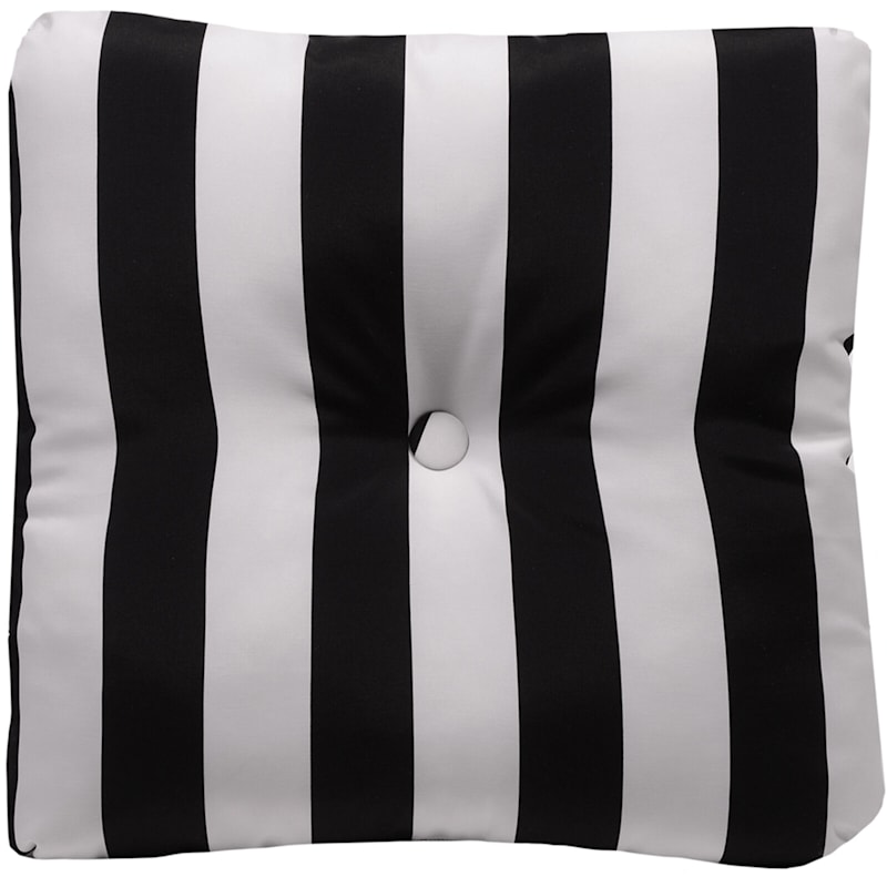 Black Awning Stripe Outdoor Tufted Back Cushion