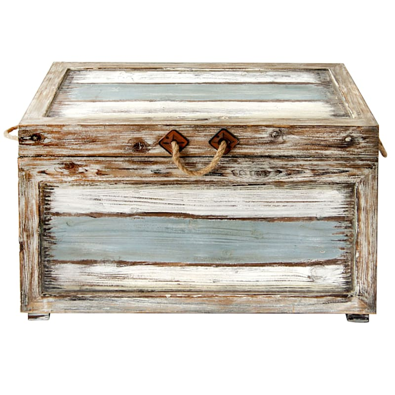 Nantucket Weathered Wood Decorative Storage Trunk, Large