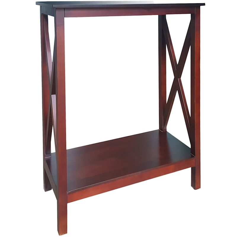 Three Tier X-Side Table Brown