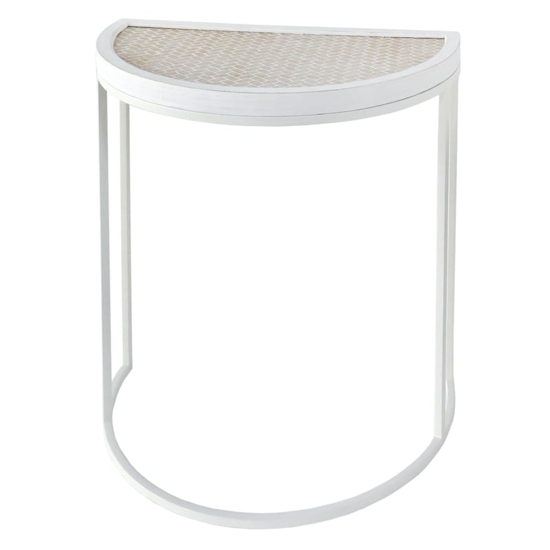 Half Round Wood Top Plant Stand With White Metal Base, Large